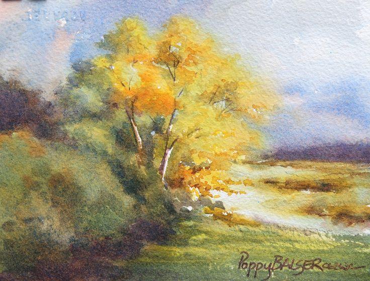 Sunshine on Poplars by Poppy Balser Watercolor ~ 5 x 7 ...