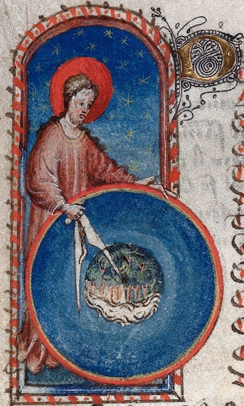 "author: Gautier de Metz, ""God the Geometer"", from: Image du Monde, circa 1425-50"