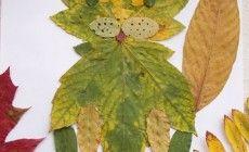 Аппликация Кот из листьев