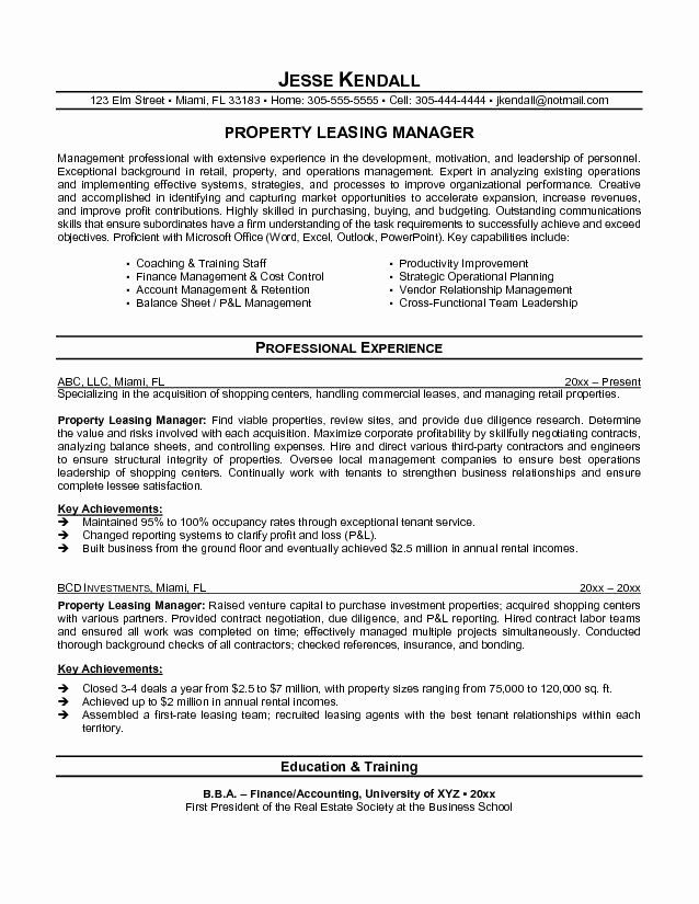 Assistant Property Manager Resume Lovely Property Manager Resume Objective Manager Resume Job Resume Samples Operations Management