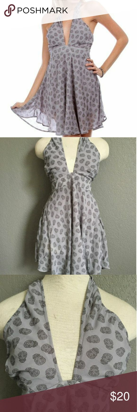 Urban Outfitters Dress Gray Sugar Skull Print- S Urban Outfitters Want and Need Gray Sugar Skull Print Marilyn Monroe Dress Size S  Grey in grey sugar skull dress with unique neckline and zipper in back. Flowy chiffon fabric, fully lined. Urban Outfitters Dresses Backless