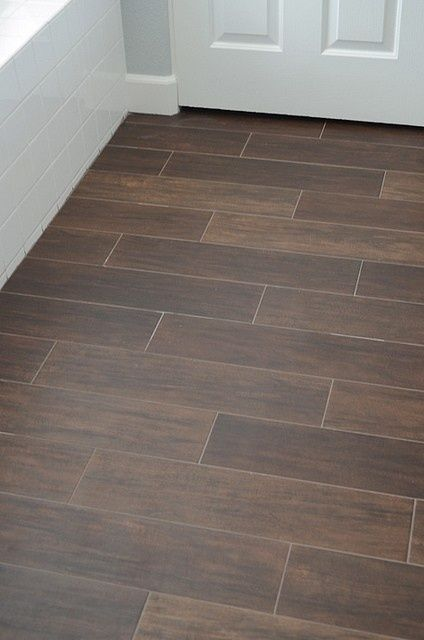 Ceramic tile that looks like wood for the bathroom.