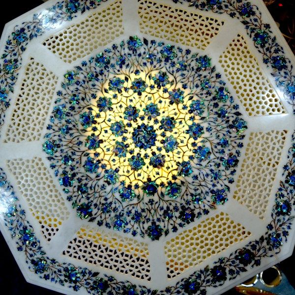 Surrealz genuine Marble pietra dura table inlaid with semi precious stones - lapis lazuli, turquoise, mother of pearl Hand carved, filigree carved