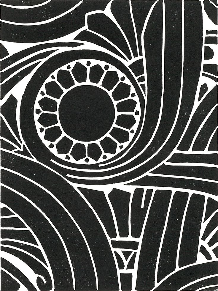 ART DECO PATTERN Linoleum Block Print