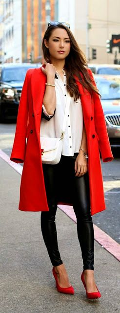 Red Double Breasted Coat + High Waist Leather Faux Legging # Hapa Time