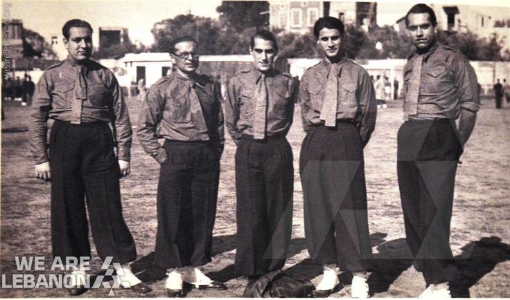"Creation of the Phalanges Party ""Al Kataeb"": Chafic Nassif, Piere Al Jemayel, George Naccash, Emile Yared, Charles Helou, year 1936"