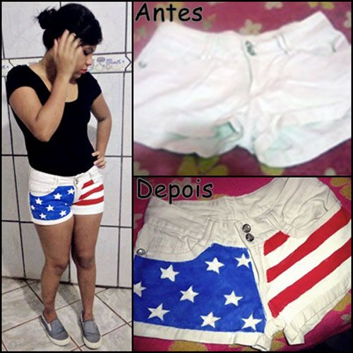 DIY - Denim customized - USA flag pattern   See here: http://customizando.net/customizacao-de-shorts-com-a-bandeira-dos-estados-unidos/