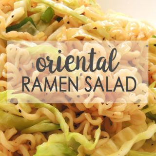 This ramen noodle cabbage salad recipe is made with chopped cabbage, ramen noodles, slivered almonds, sesame seeds, green onions, and a sweet, hot dressing.
