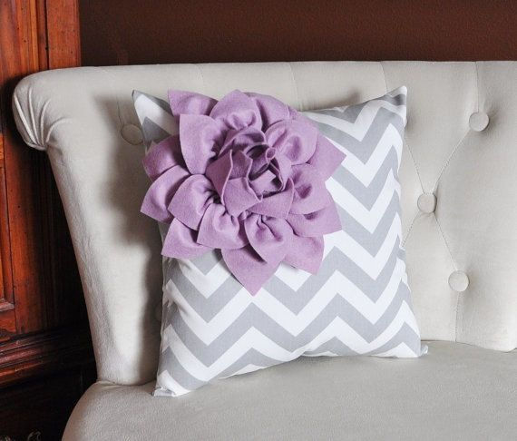 ALL ITEMS ARE MADE TO ORDER PLEASE SEE SHOP FOR CURRENT CREATION TIME!!!  Lilac Corner Dahlia on Gray and White Chevron Pillow. 14 x 14  (Larger Sizes