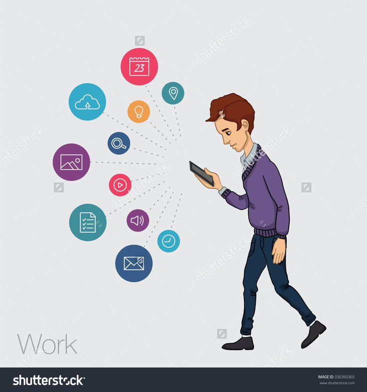 Mobile App In Smartphone. Icons App For Marketing. Cartoon Man With Mobile Icons Phone. Vector Cartoon Man With Mobile App Notification. Cloud Service App In Mobile Smartphone. Vector Icons Mobile App - 336360365 : Shutterstock
