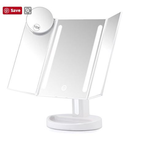 Herwiss Lighted Vanity Makeup Mirror with 10x Magnifying Soft Led Light Illuminated for Beauty Cosmetic Shaving- Auto Off Dual Power Supply 180 Degree Rotation Portable Compact Travel Trifold Mirror: An awesome product! Bought this for my granddaughter and she loves it. It is adjustable, has different lighting intensity and can use batteries or the usb cable. Easy to take with you on trips, and easily stores away. You will love it! Go here to order : https://www.amazon.com/s/ref=nb_sb_noss…