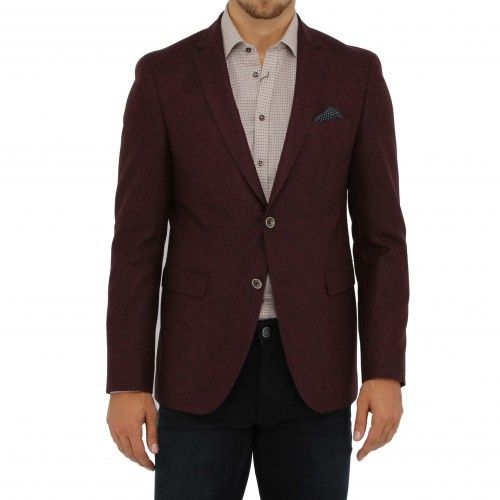Sand Sherman. A sophisticated blazer featuring a peaked lapel, welt chest pocket, flap side pockets, and contrasting two buttoned front closure.