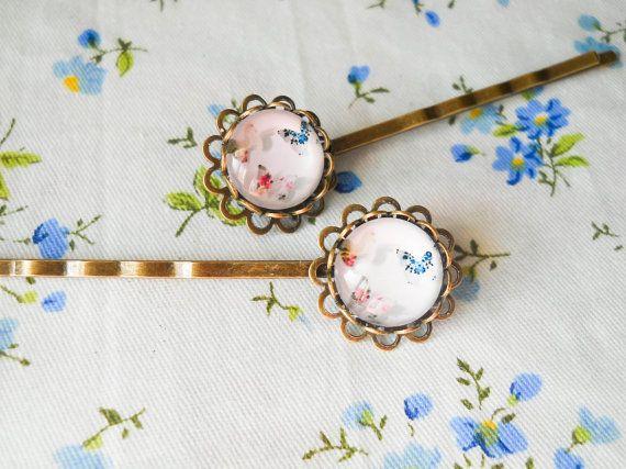 Glass Cabochon Hair Pins, Butterfly Hair Pins, Butterfly Bobby Pins, Vintage Hair Pins, Antique Bronze Bobby Pins, Butterfly Cabobchon