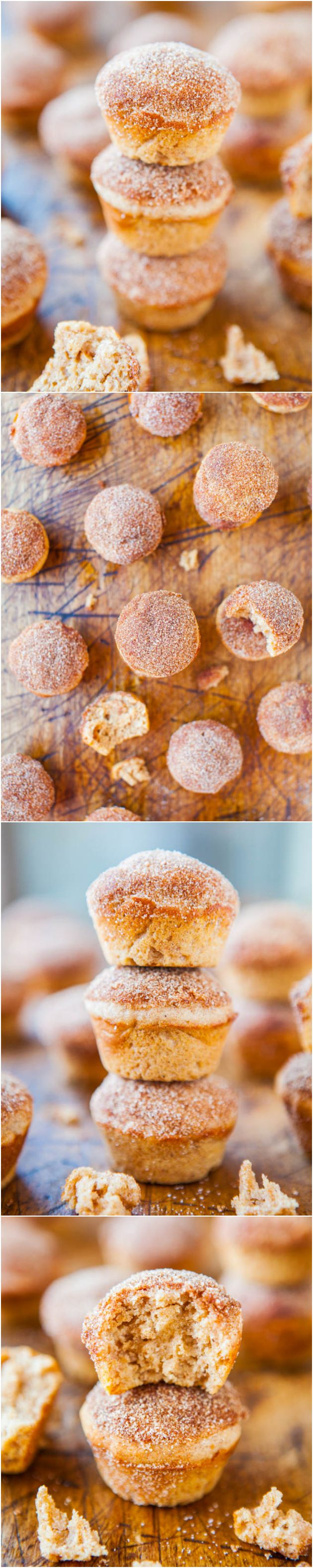 Cinnamon Sugar Mini Donut Muffins - Baked mini muffins that taste like fried mini donuts! (Love it when healthier choices taste so good!)