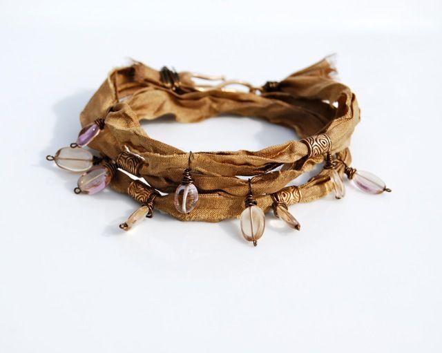Silk ribbon, Ametrine, shibuichi bead tubes, shibuichi S hook clasp bracelet.