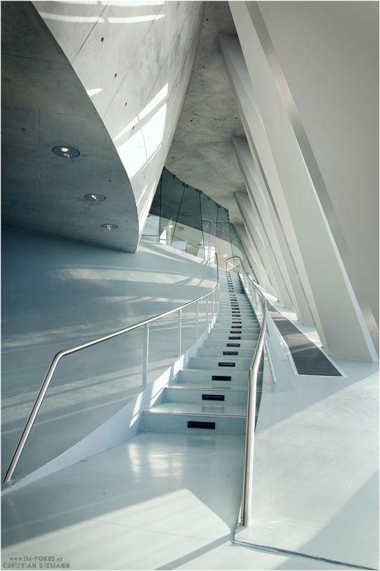 *architecture, modern interiors, white* - Mercedes-Benz Museum Stuttgart