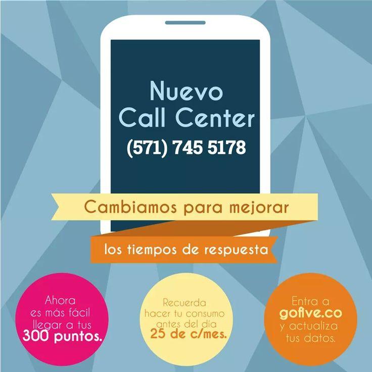 Nuevo Call Center-Go Five-  Para cualquier duda o inquietud, puedes comunicarte con servicio al cliente. #gofive #yosoygofive