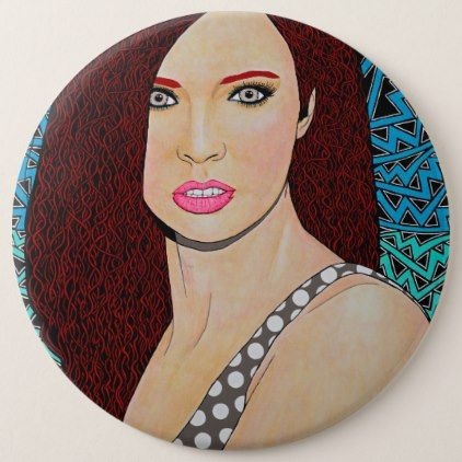 WILD ORCHID GRAFFITI GIRL PINBACK BUTTON - red gifts color style cyo diy personalize unique