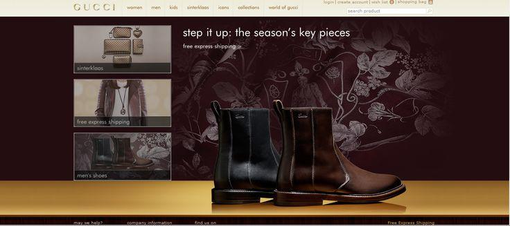 De website van Gucci is een sterk middel. Het betreft een duur merk en dat is terug te zien in de stijl van de website. De achtergrond en kleuren van de pagina laten zien dat het om een exclusief merk gaat. Het doel van de website is een positieve attitude creëren tegenover het merk en online bezoekers overtuigen producten van het merk aan te schaffen.