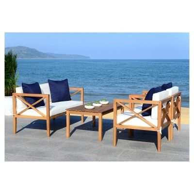 Montez 4pc Wood Patio Seating Set - Teak/Navy - Safavieh ... on Safavieh Outdoor Living Montez 4 Piece Set id=86519