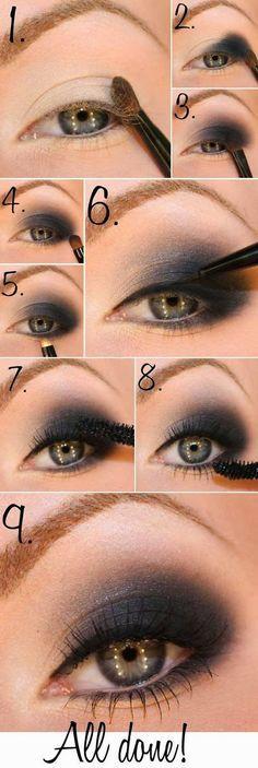 Para un buen maquillaje de ojos, es necesario seguir paso a paso: 1. sombras, 2. delineador, 3. Mascara de pestañas. Listo!