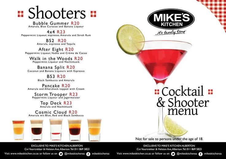 Mikes Kitchen Alberton Shooter Menu