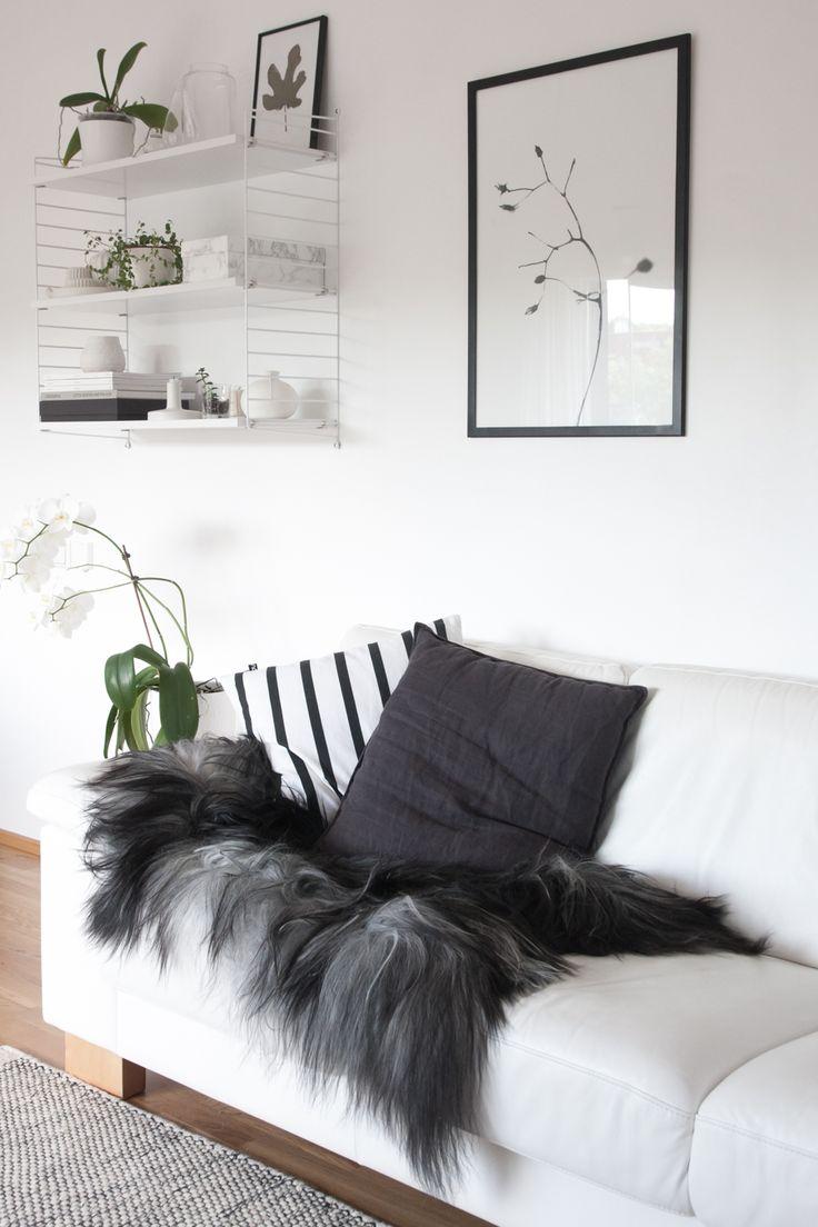 monochrome Nordic living room, Icelandic sheepskin