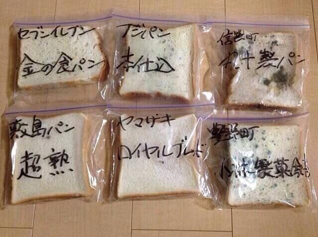 試験的に食パンを10日以上放置したもので、添加物が入っているモノは腐らない。 世界では禁止されている「臭素酸カリウム」が日本では普通に使われてる