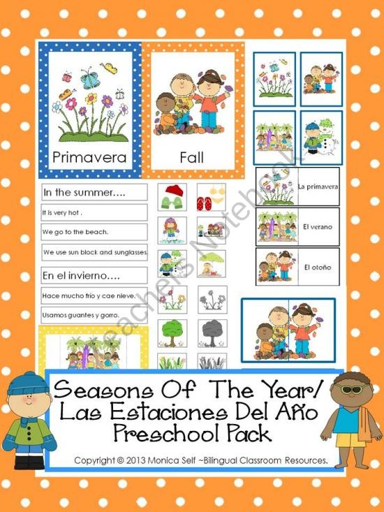 Seasons Of The Year/ Las Estaciones Del Año Preschool Pack from Bilingual Resources on TeachersNotebook.com (75 pages)