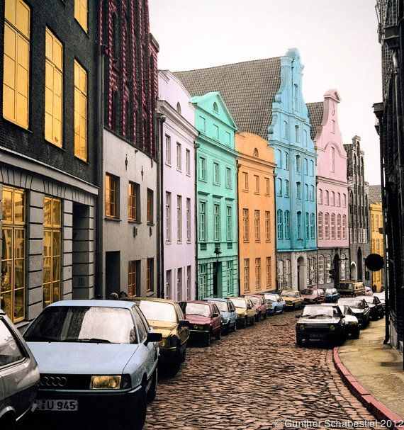 Lubeck Street Scene Historic buildings line the by GuntherScha