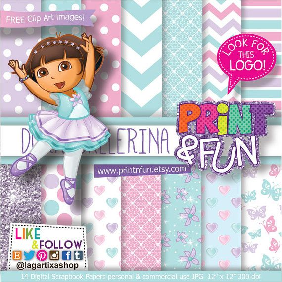 Digital Paper Dora The Explorer Ballerina Ballet clip by Printnfun, €3.00
