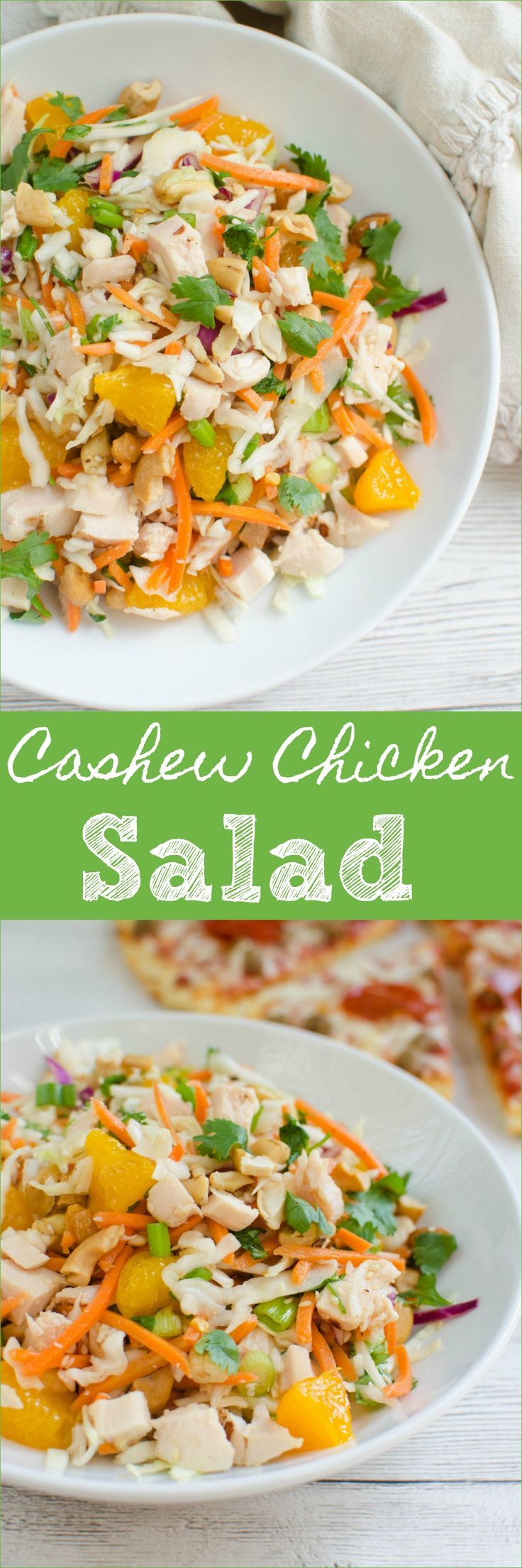 Cashew Chicken Chopped Salad - chicken, veggies, mandarin oranges, and cashews tossed in a sweet and sour dressing! My kids LOVE this salad! #WinWithTonysPizza #ad