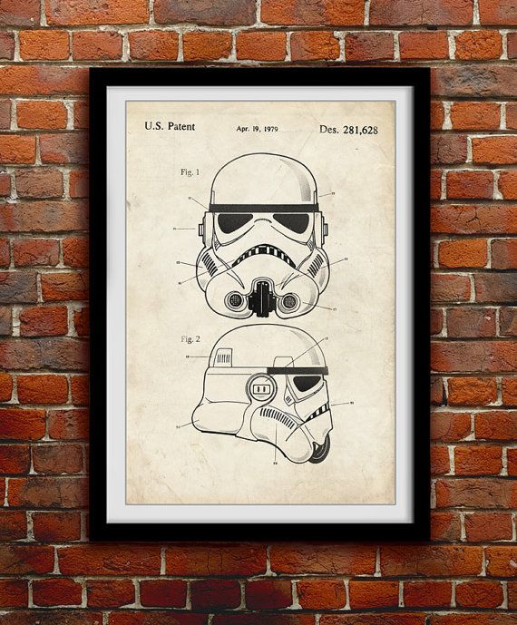 Star Wars Stormtrooper - Toy Helmet Decor - Patent Print Poster Wall Decor - 0110    Hang a piece of history in your Home, Office, Man Cave or