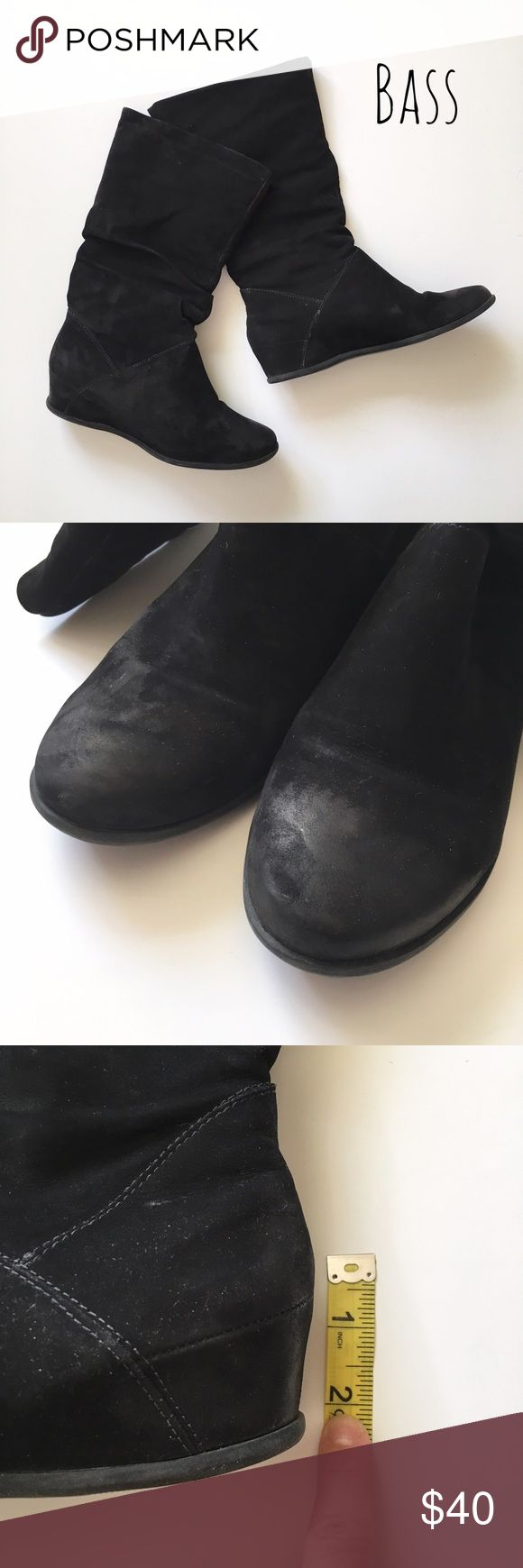 "Black Suede Wedge Boots Black suede wedge winter boots by Bass. ▪️Approx 2"" wedge ▪️Runs a little small, fits closer to a 7 ▪️Comes with original box ▪️In great condition   🚭 Smoke-free home 📬 Ships by next day 💲 Price negotiable  🔁 Open to trades  💟Happy Poshing!💟 Bass Shoes Winter & Rain Boots"