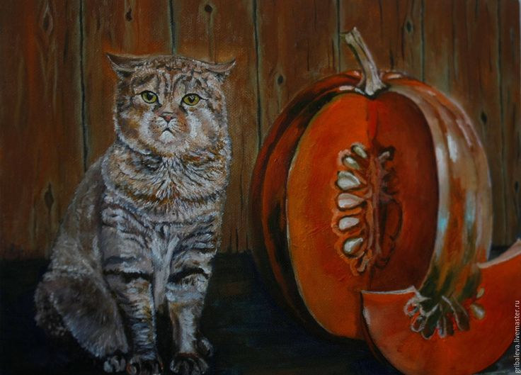 Cat Scottish fold pumpkin Halloween by NataliaStepanovaArt on Etsy