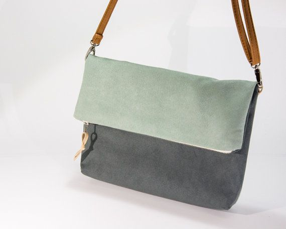 Gray and opal foldover crossbody bag,fold over purse , small purse with leather strap, faux suede bag  ||| Love, but flat with no interior pockets/ organization