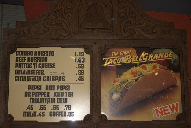 Old Taco Bell menu, probably about the time my grandma and sister would walk down the boulevard to eat the the burritos with extra flour on the tortillas