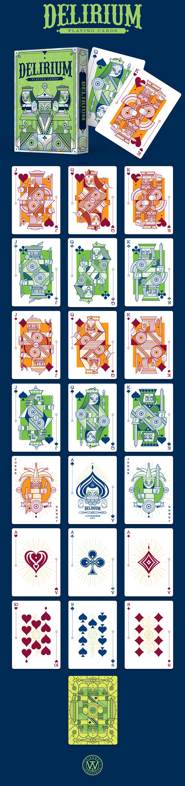 A playing cards deck, being funded on Kickstarter.https://www.kickstarter.com/projects/thirdwayind/delirium-playing-cards