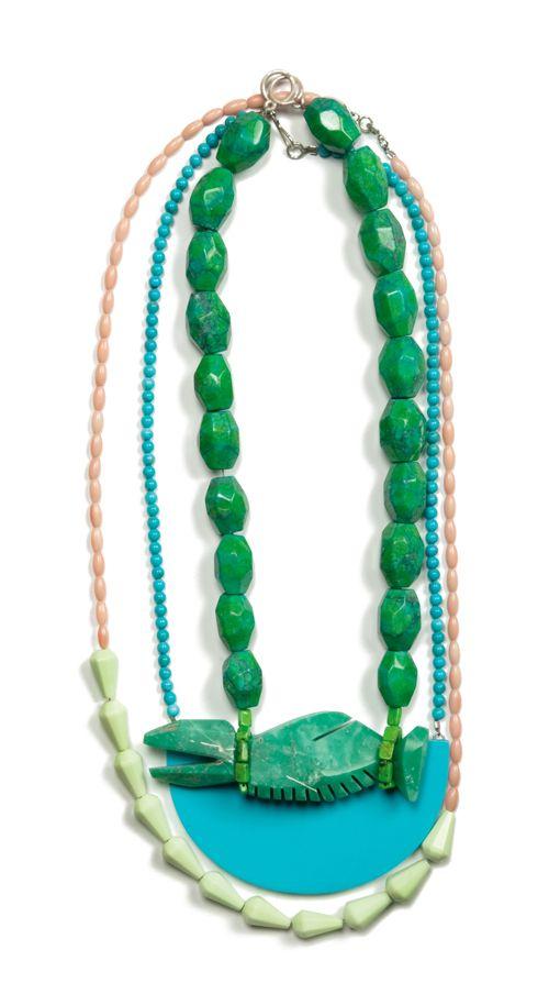 Collana Living Memory (2011) - Denise Julia Reytan - Germania - Realizzata in turchese (verde e blu), corallo, opale tinti, magnesio, argento