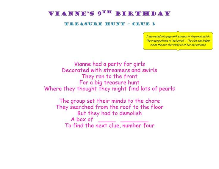 Birthday Treasure Hunt Clue 3 #Treasure #Hunt #Treasurehunt #Clue03