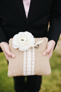 Burlap and Lace Ring Bearer Pillow (thinking about going with a bible wrapped with burlap and lace to make a bow but idk depends on if sage is a ring bearer at all)