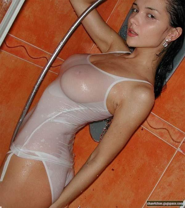 Asian girl in shirt t wet