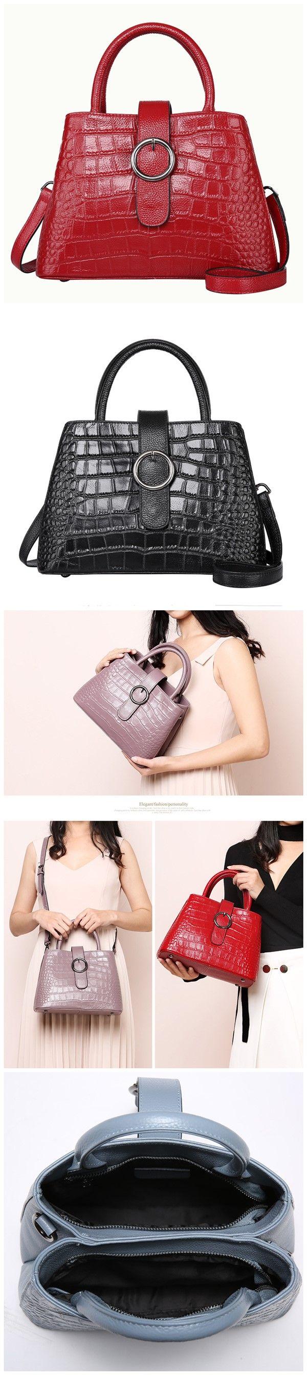 Classy Women's Top-handle Cross Body Handbag Purse Leather Tote Bag Double Pockets Bagail.com