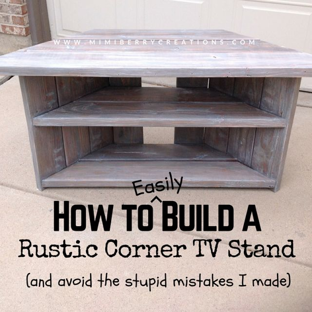 Step by step tutorial on how to build a corner tv stand (could apply to corner desk too) using simple 2x4s and kreg jig (could be done without kreg jig too). #tvstand #kregjig #rusticdiy