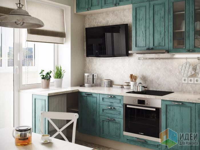 Бирюзовая мебель для кухни