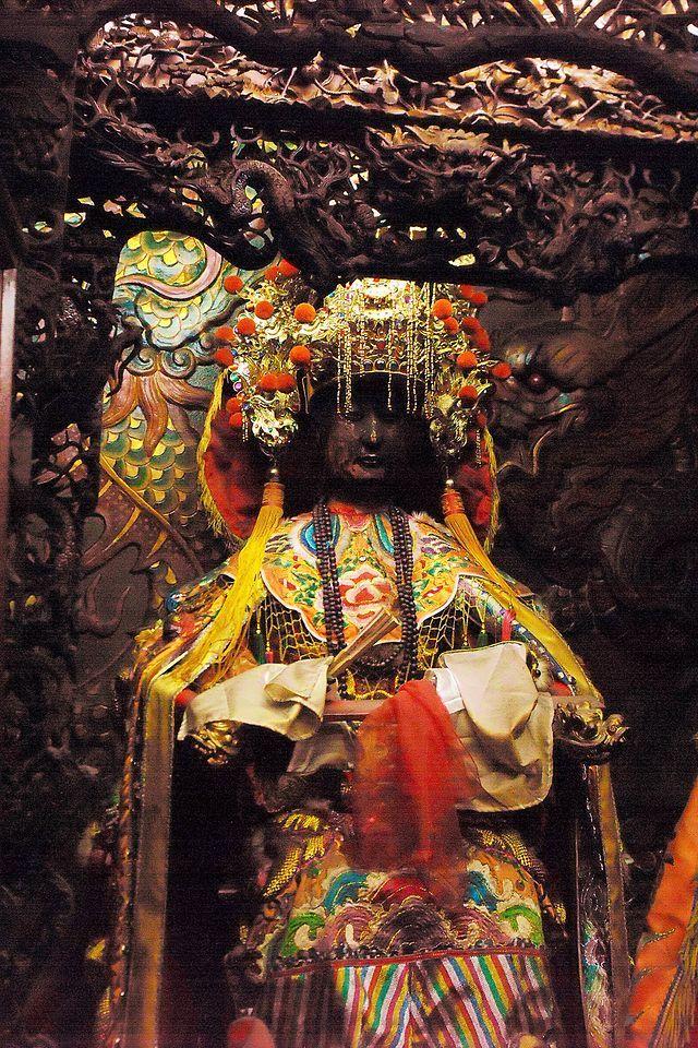 Statue of Mazu inside a temple in Chiayi, Taiwan