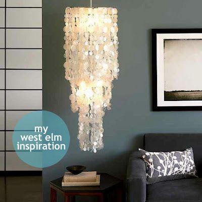 DIY capiz chandalierWall Colors, Pendants Lamps, Girls Room, Capiz Shells, Living Room, Diy Capiz, Capiz Chandeliers, Pendants Lights, West Elm