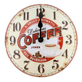 Retro Tin Coffee Clock