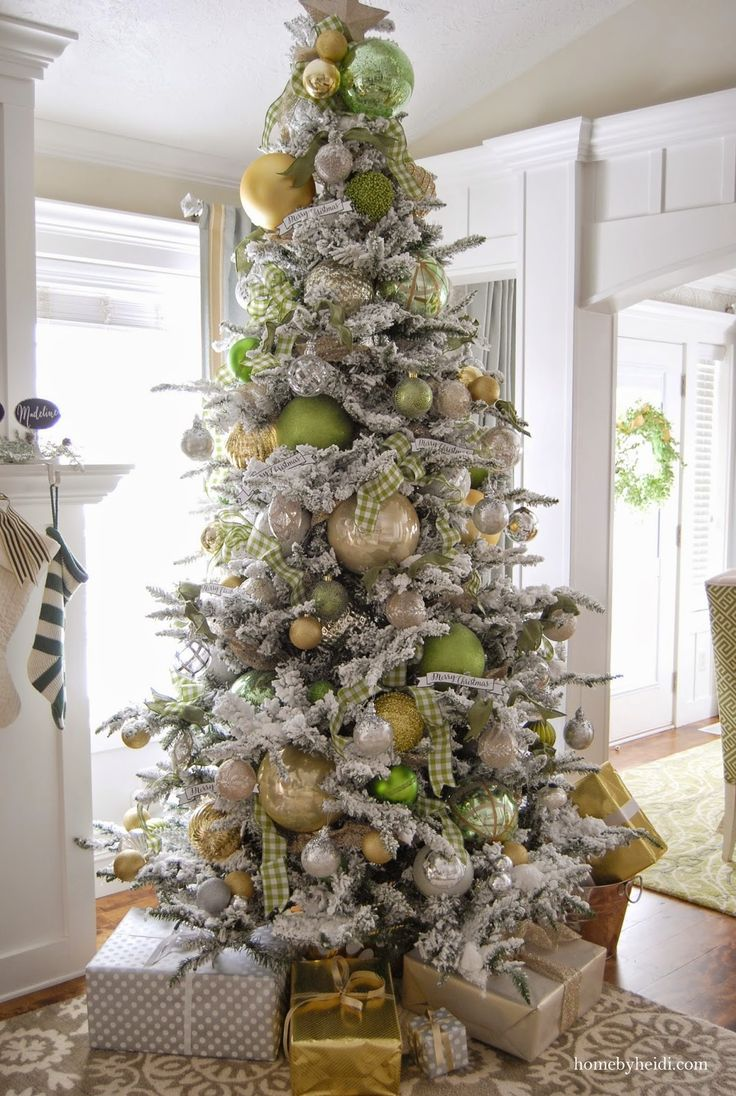 using basic creams gold and silvers then bringing in other bright colored ornaments to go with your color scheme of the year.
