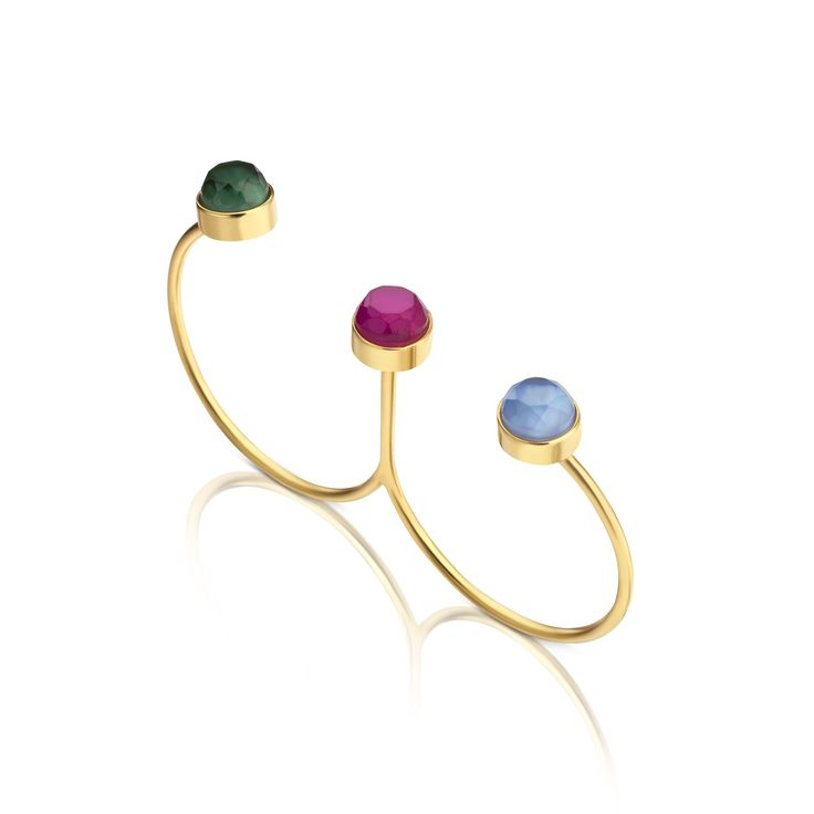 18kt yellow gold TOUS Mini Bright ring with blue hydrotthermal blue and green with mother of pearl and one hydrothermal ruby with mother of pearl